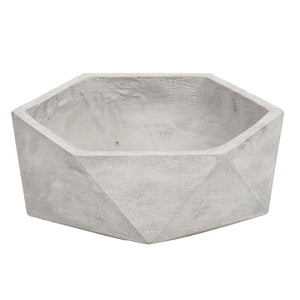 High-quality hexagonal stonecast pot in light grey