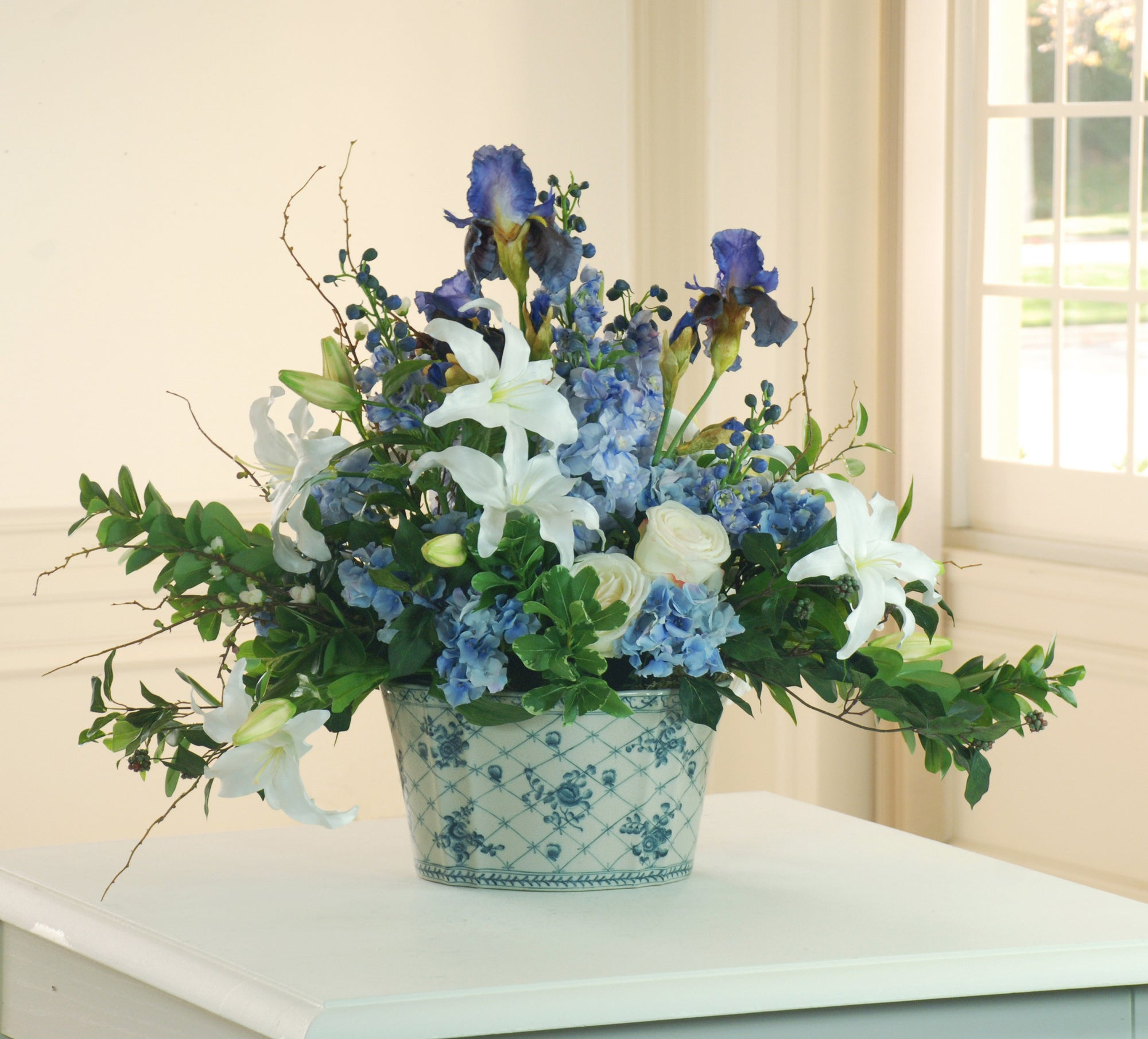 LILY AND DELPHINIUM CHINOISERIE (DP510-MI) - Winward Home faux floral arrangements