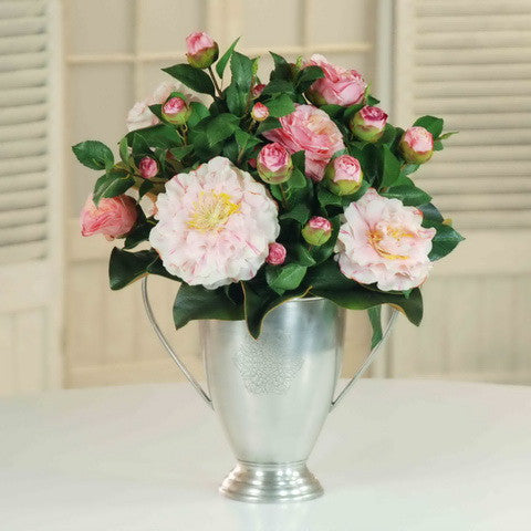 CAMILLIA IN SILVER CUP (DP555-PK) - Winward Home silk flower arrangements