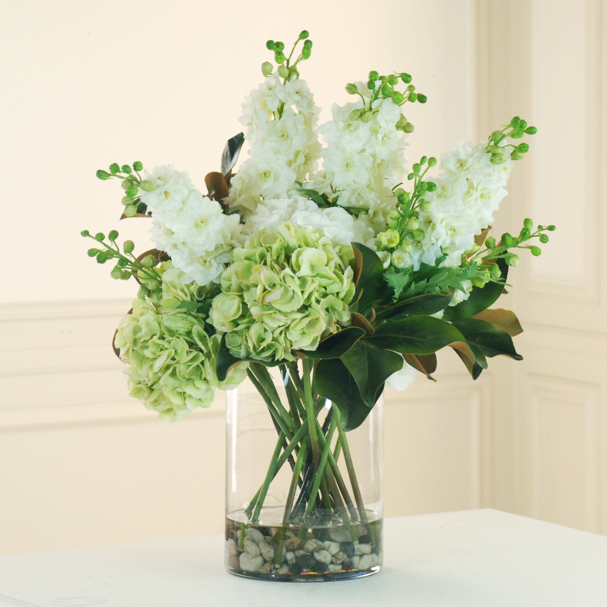 HYDRANGEA AND DELPHINIUM IN GLASS (DP713-WHGR) - Winward Home faux floral arrangements