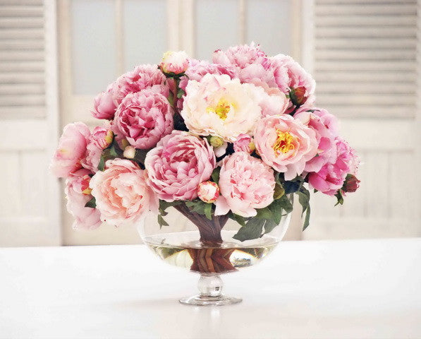 MIX PEONIES IN VASE (DP741-PK) - Winward Home silk flower arrangements
