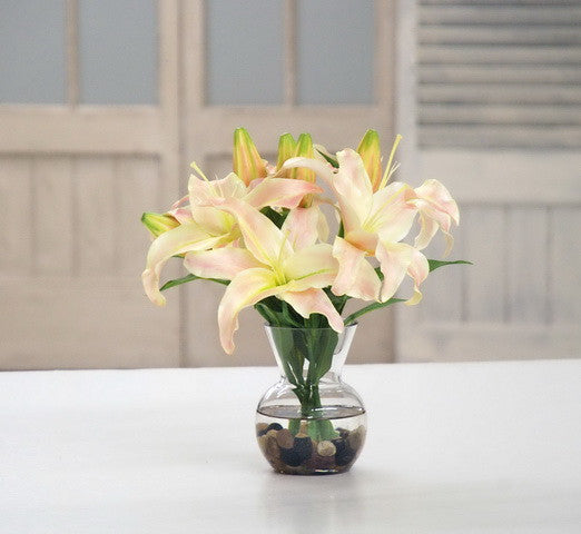 CASABLANCA LILY IN VASE (DP743-LP) - Winward Home silk flower arrangements