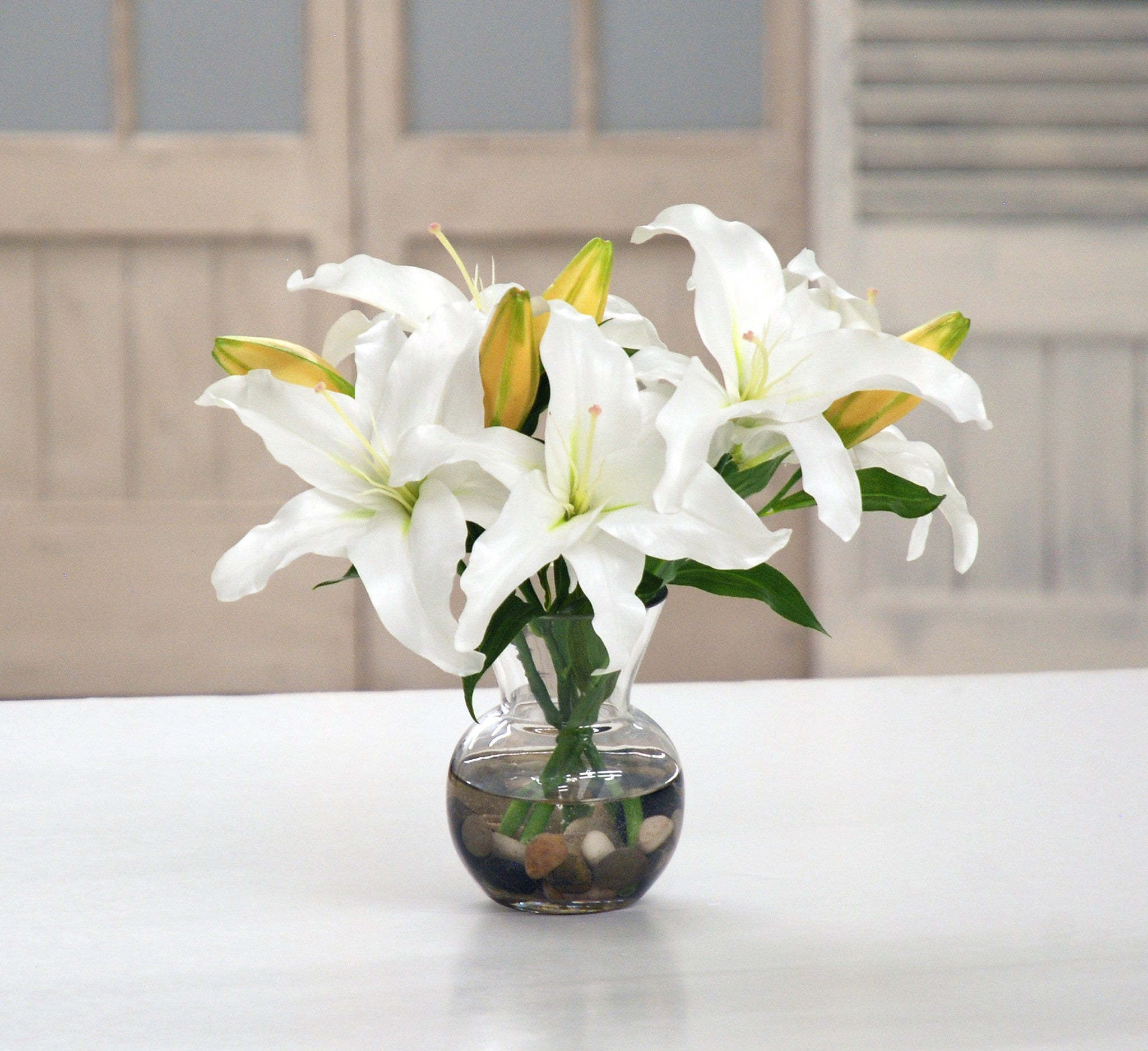 Casablanca lily winward home white lily casablanca in vase dp743 ww winward home faux floral arrangements reviewsmspy