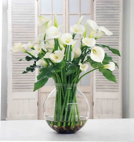 CALLA LILY IN BALL VASE (DP746-WHGR) - Winward Home faux floral arrangements
