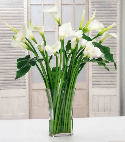 CALLA LILY IN SQUARE VASE (DP747-WHGR) - Winward Home faux floral arrangements