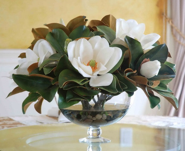 MAGNOLIA LEAF IN BOWL VASE (DP748-WHGR) - Winward Home silk flower arrangements
