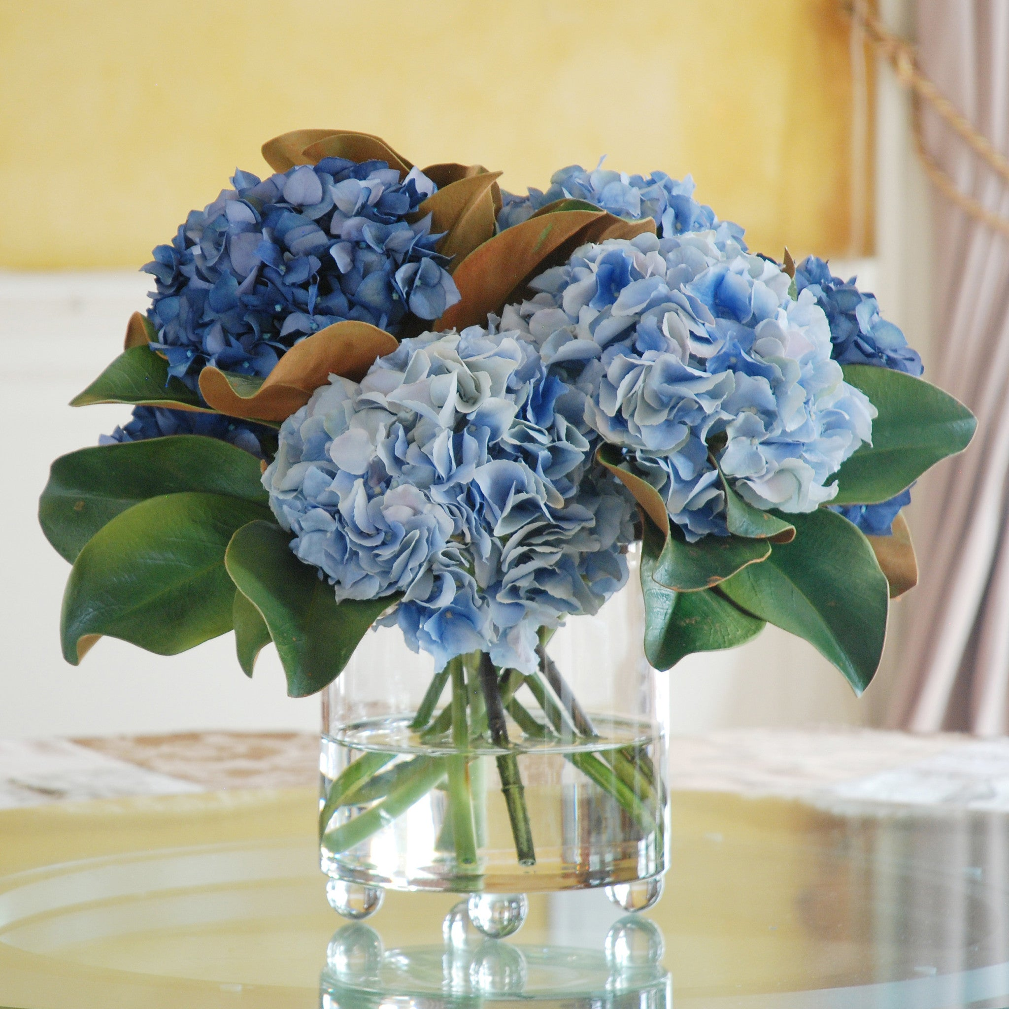 blue hydrangea in glass  winward home finest permanent botanicals, Natural flower