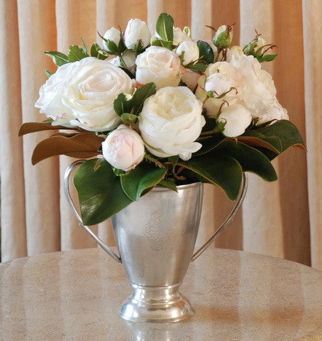 MIX ROSE/MAGNOLIA LEAF SMALL (DP751-CH) - Winward Home silk flower arrangements