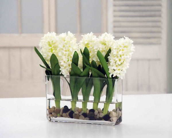 WHITE HYACINTH RECTANGLE (DP765-WH) - Winward Home silk flower arrangements
