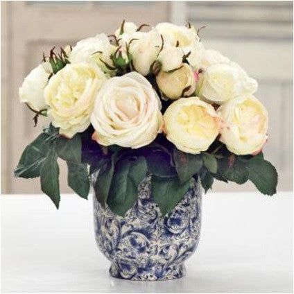 MIXED ROSE IN CACHE POT (DP776-WH) - Winward Home silk flower arrangements