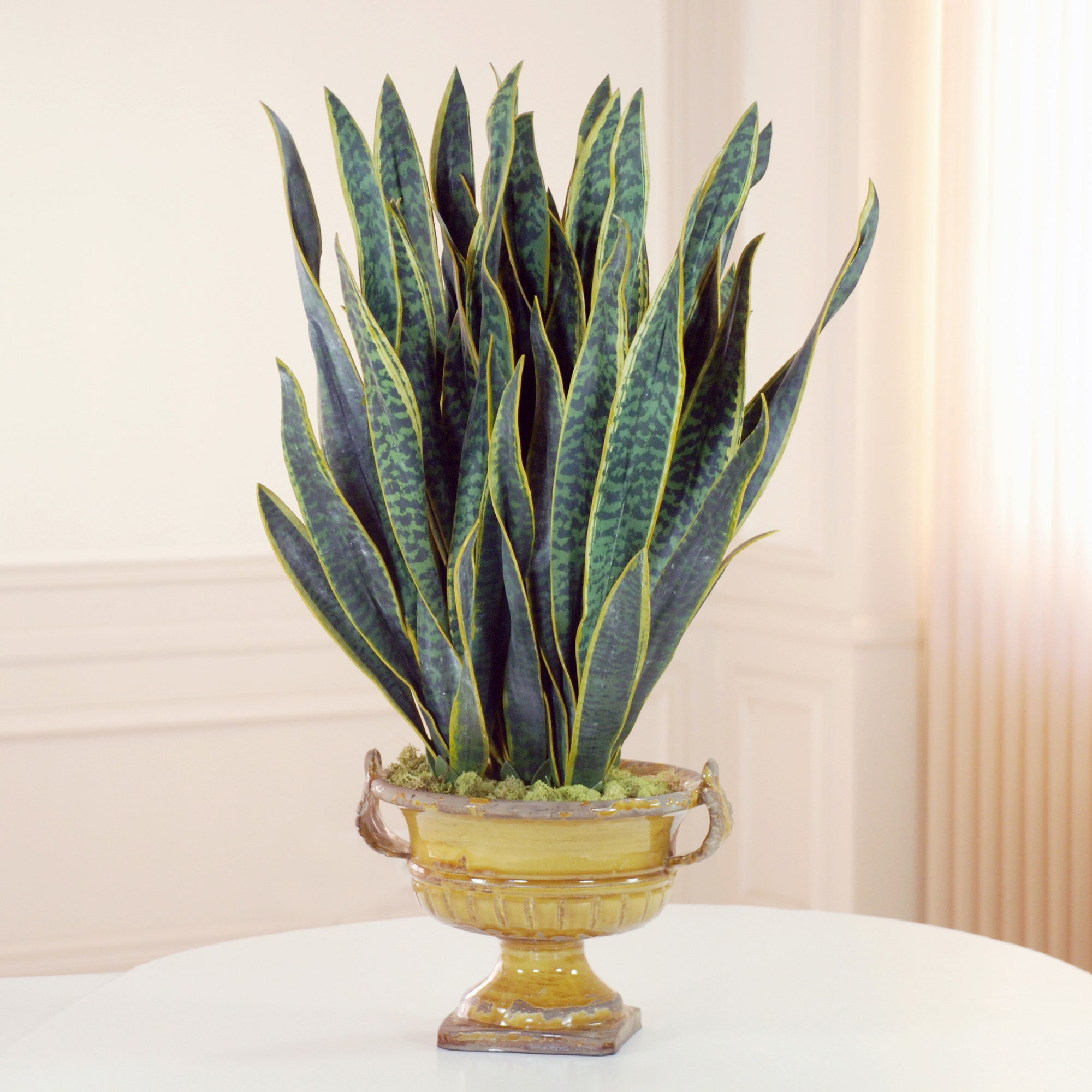 SANSEVIERIA IN MUSTARD URN (DPG003-GR) - Winward Home silk flower arrangements