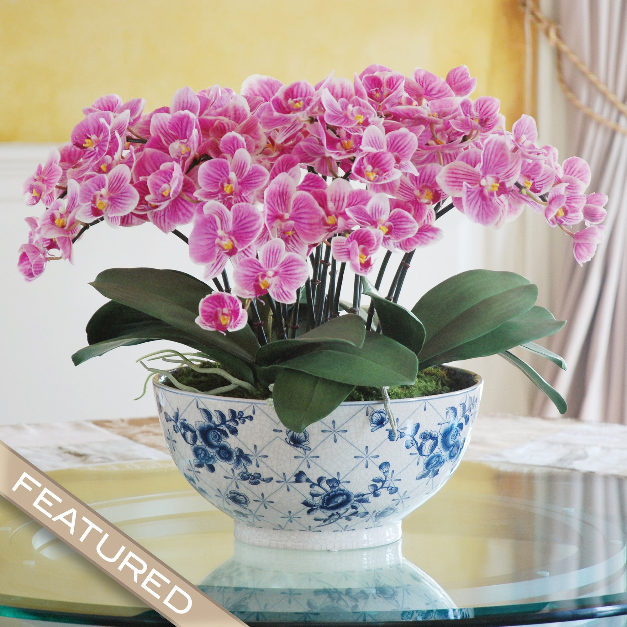ECLECTIC PHALAENOPSIS ORCHID CENTERPIECE (DP770-PUWH) - Winward Home silk flower arrangements