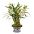 Artificial orchid plant in white and blue ceramic pot