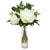 High-quality white faux peonies in tall clear cylinder glass vase