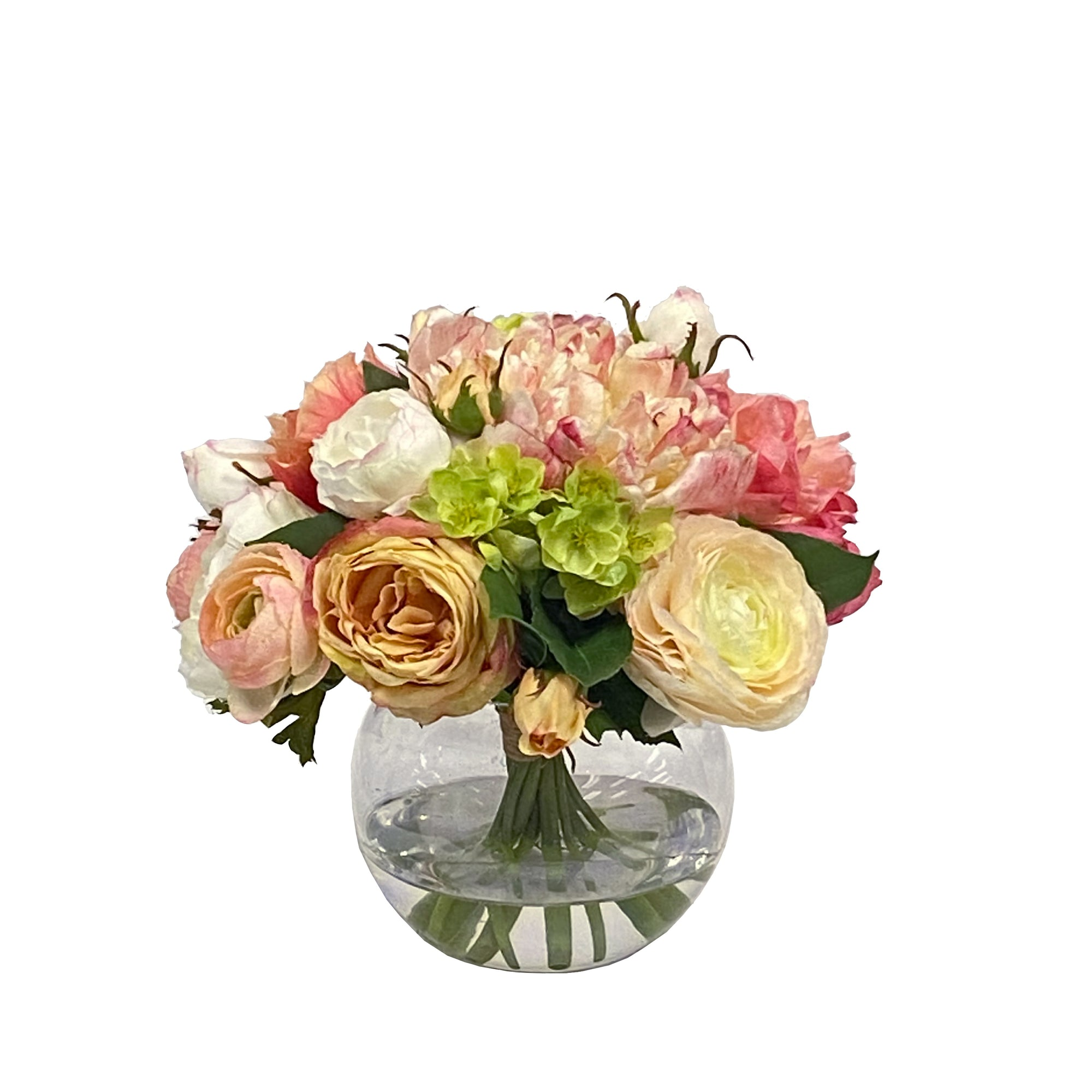 Mixed peonies and roses in clear ball glass vase