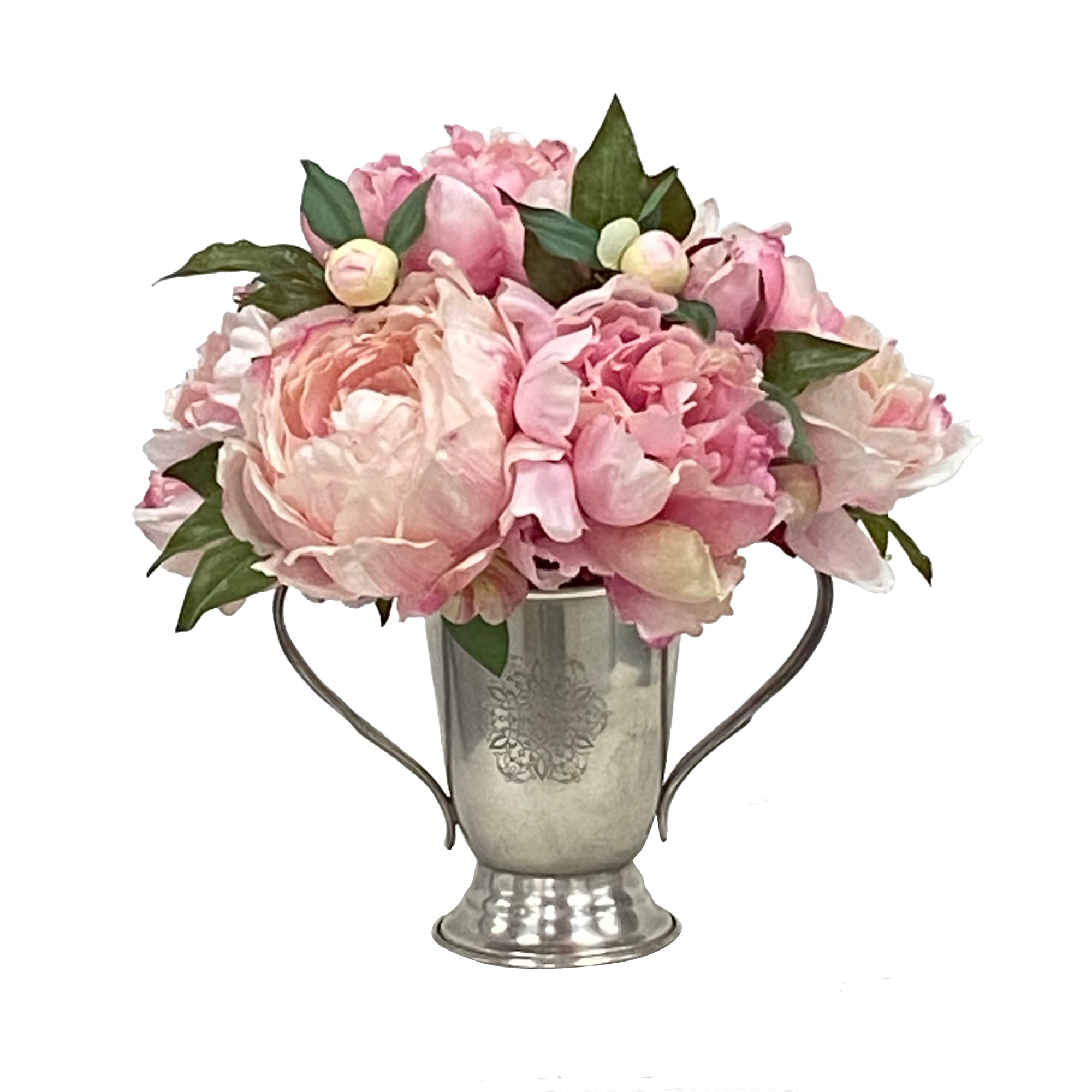 Pink peonies in silver container