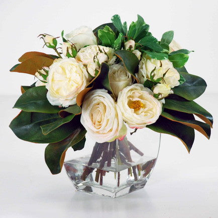 ROSE AND MAGNOLIA IN VASE (WDP737-WHGR) - Winward Home faux floral arrangements