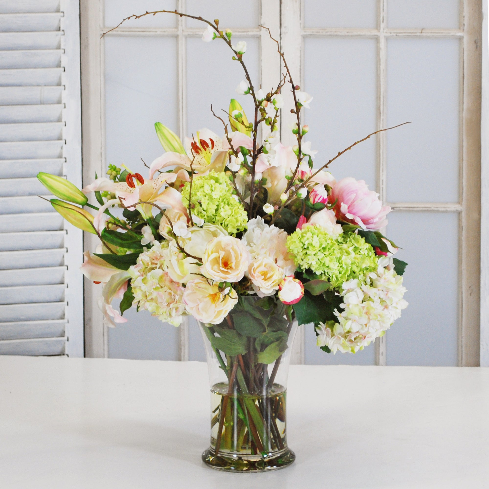MIX FLORAL IN FLARED VASE (WHD014-PKCH) - Winward Home faux floral arrangements