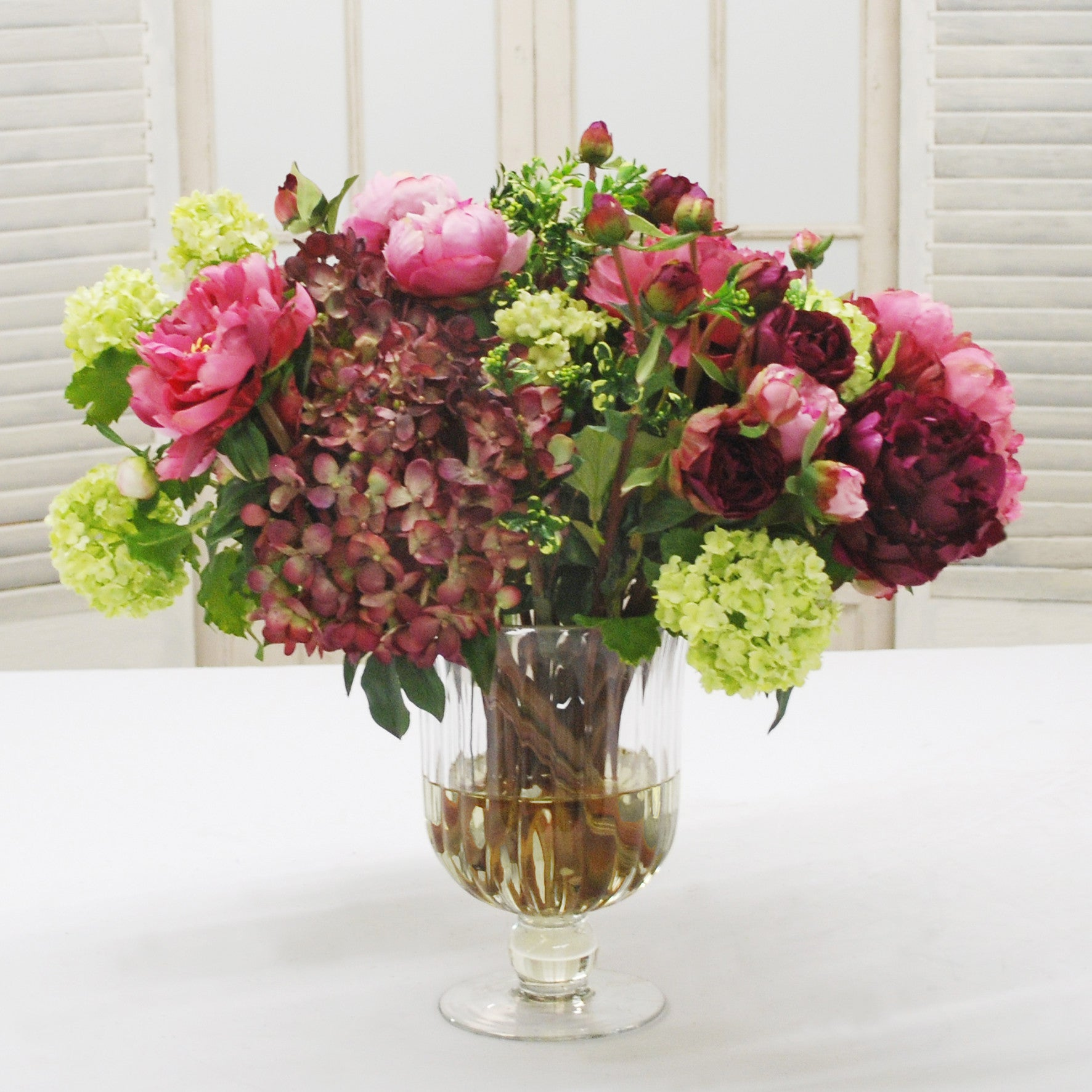 MIX FLORAL IN WINE GLASS VASE (WHD022-OHGR) - Winward Home silk flower arrangements