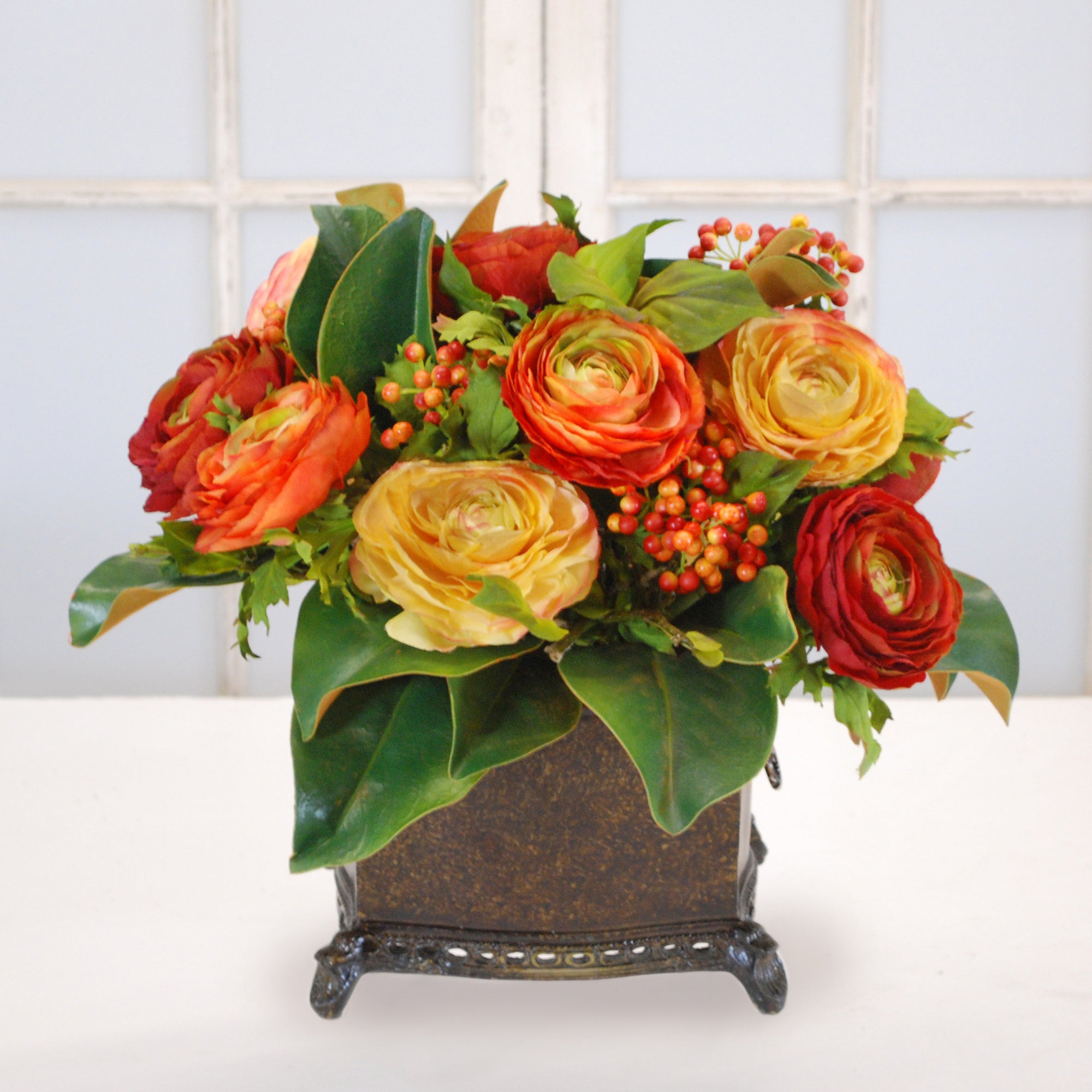 MIX RANUNCULUS IN BROWN PLANTER (WHD025-MI) - Winward Home faux floral arrangements