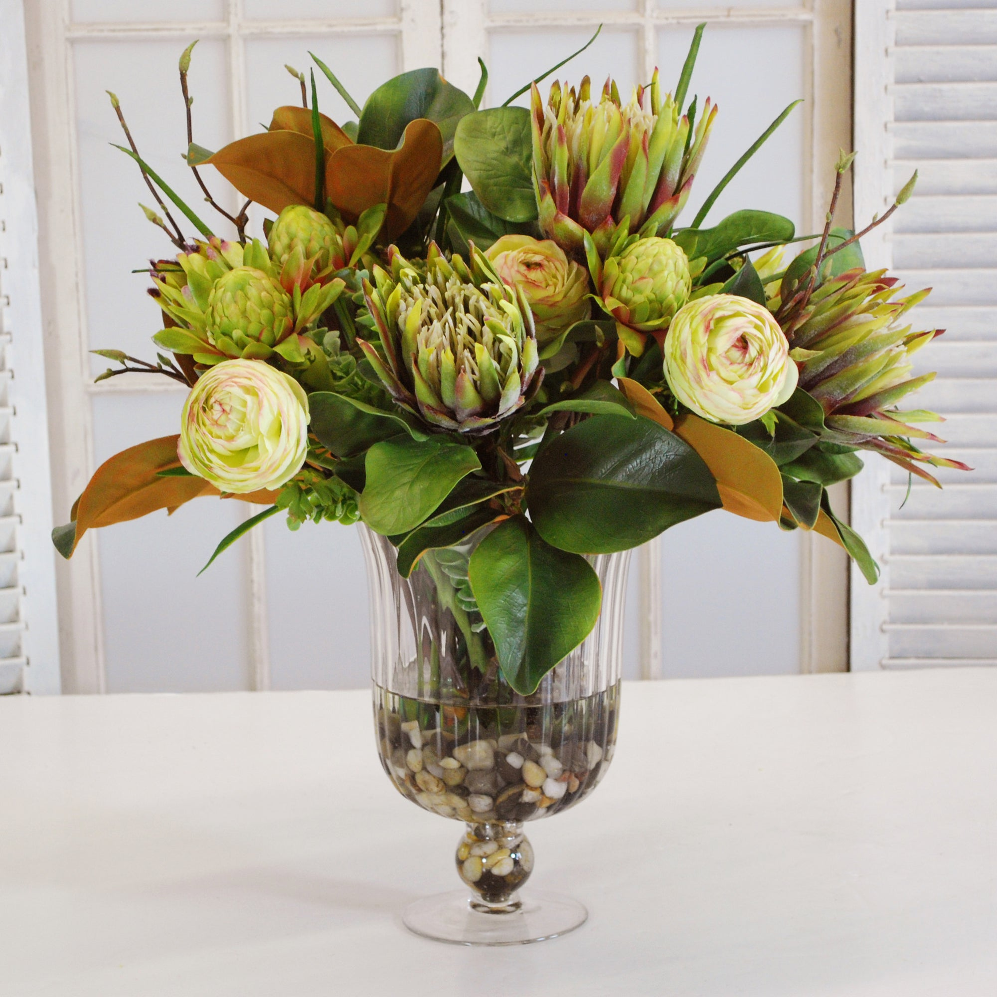 MIX TROPICAL IN TUBBINENESS VASE (WHD037-GR) - Winward Home faux floral arrangements