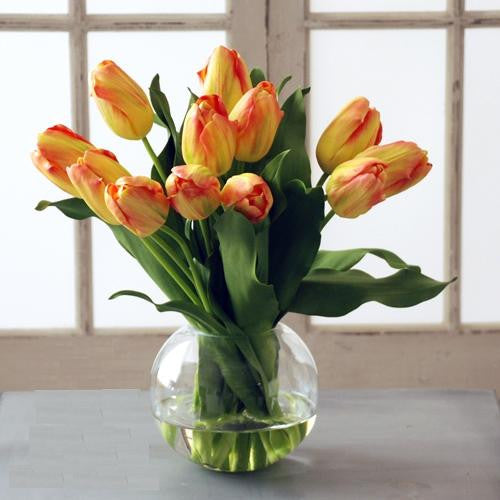 TULIP BUBBLE BOWL (WHD049-YLOR) - Winward Home silk flower arrangements