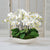 WHITE ORCHIDS IN DURAIN BOWL (WHD055-WH) - Winward Home faux floral arrangements