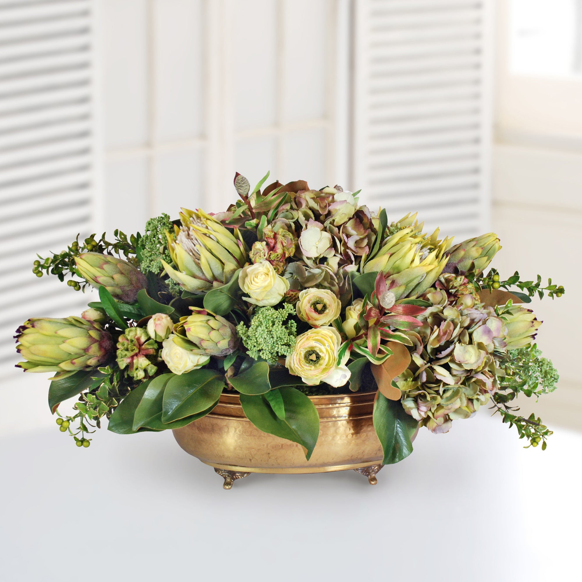 ANGELICA AND RANUNCULUS MIX (WHD065.GR) - Winward Home faux floral arrangements