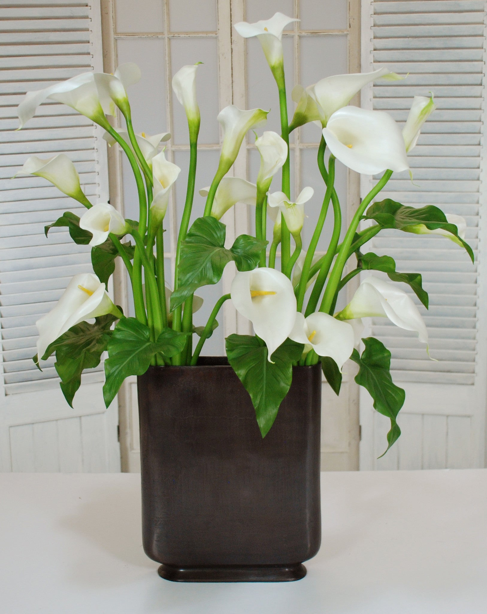 Contemporary calla lily in glass winward home finest permanent calla lily in profile vase tall whd075wh winward home reviewsmspy