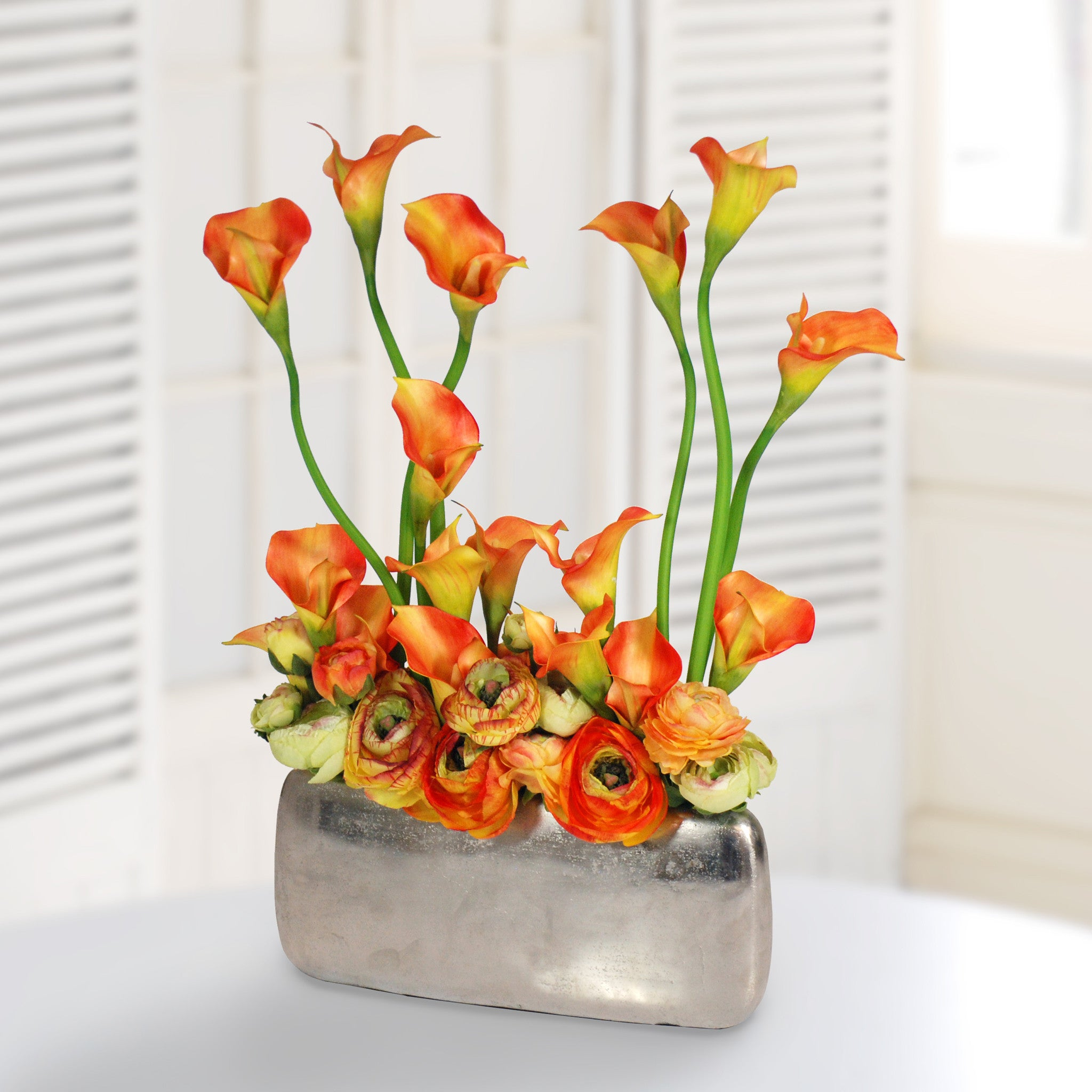 Contemporary winward home calla ranunculus in profile vase whd078or winward home faux floral floridaeventfo Choice Image