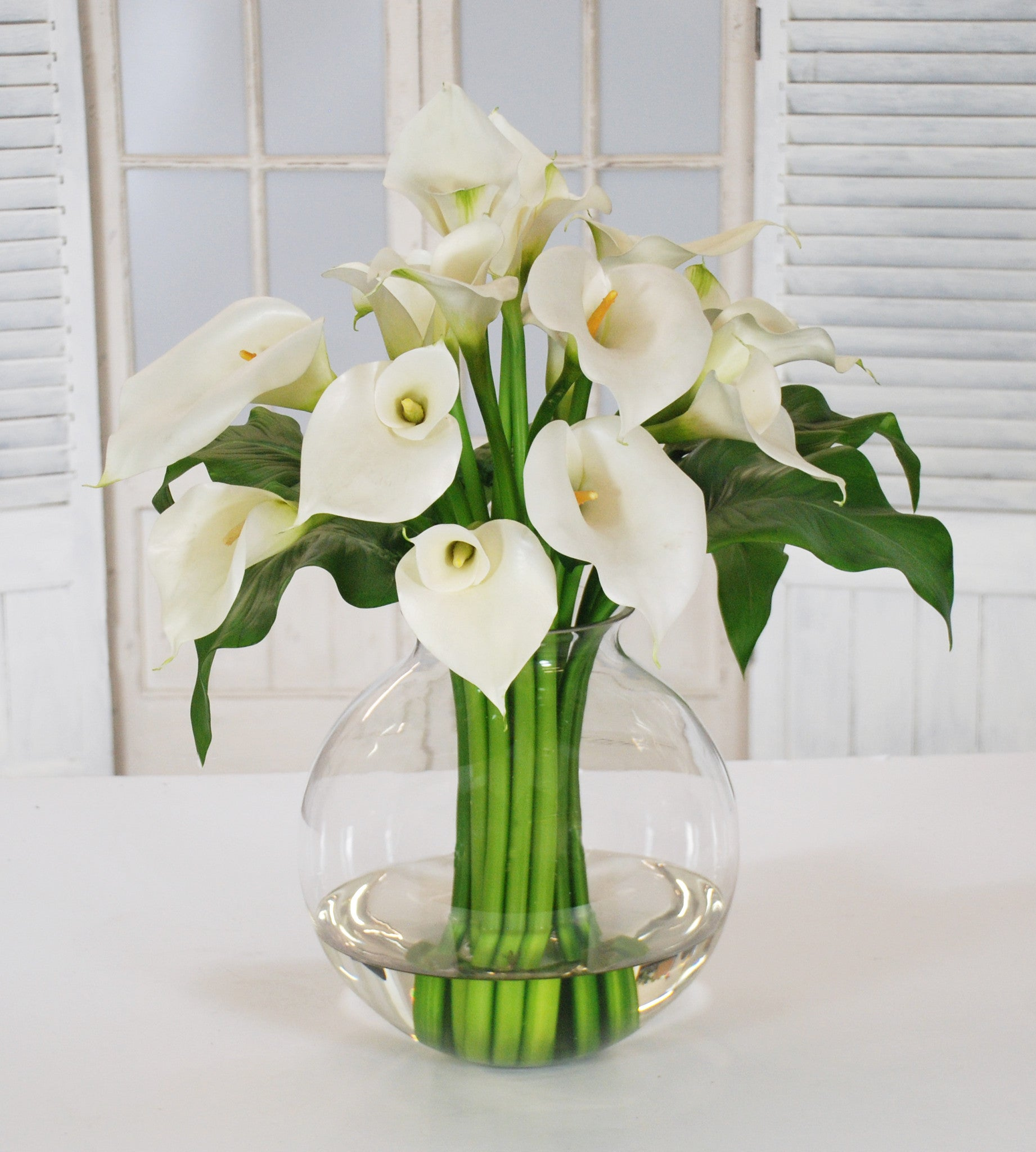 Calla lily winward home calla lily in glass ball vase whd084 wh winward home faux floral reviewsmspy