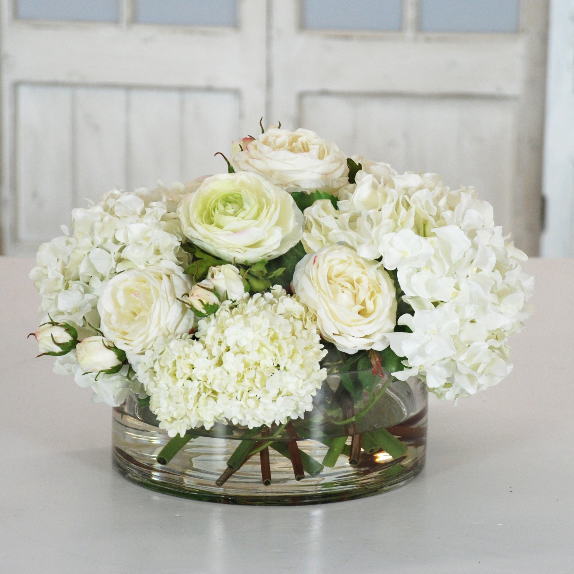 HYDRANGEA & SNOWBALL IN CLEAR VASE (WHD085-WW) - Winward Home faux floral arrangements