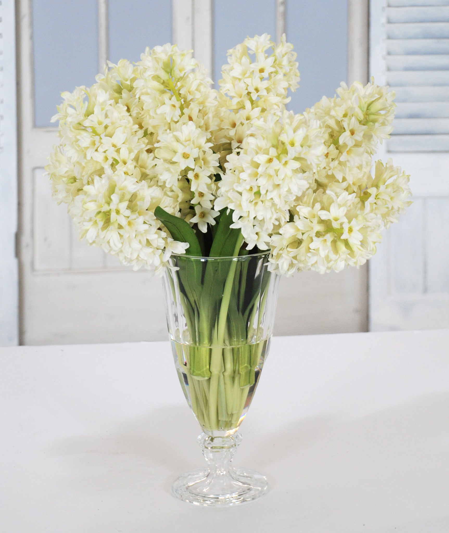 HYACINTH IN CRYSTAL GLASS VASE (WHD086-WH) - Winward Home faux floral arrangements