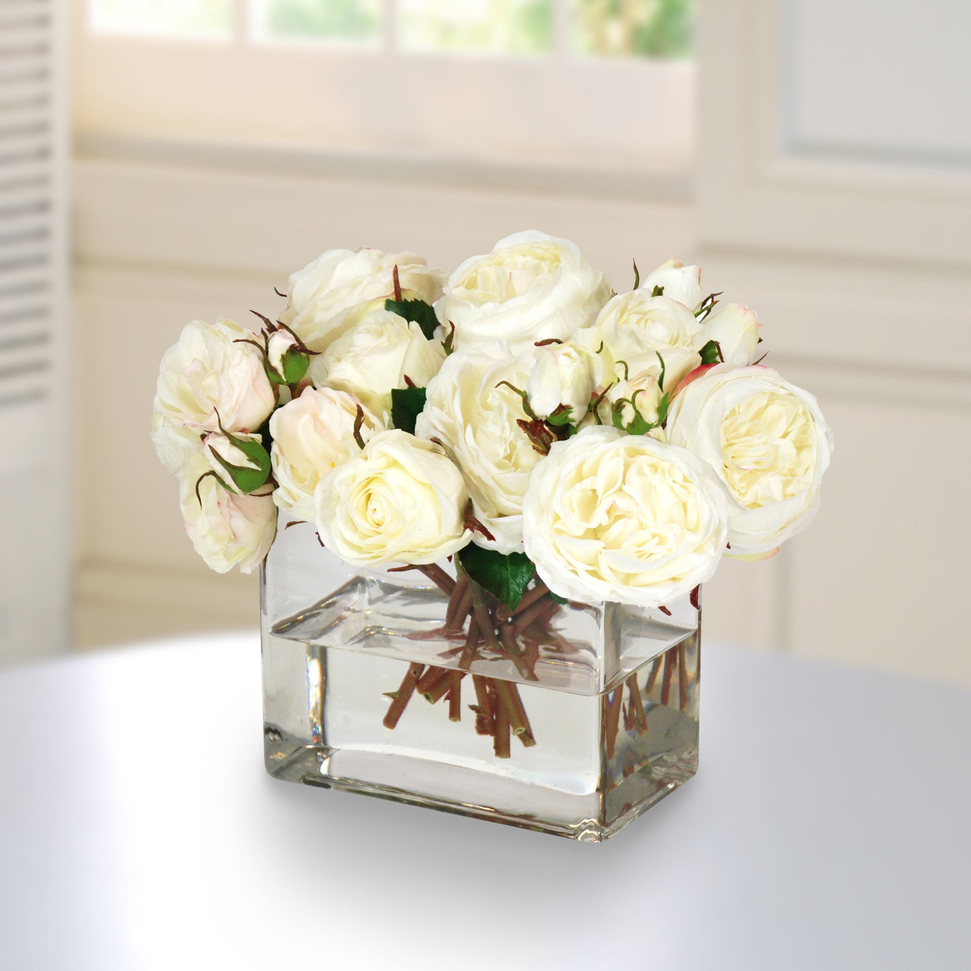 ROSES IN RECTANGLE CLEAR VASE (WHD087-WH) - Winward Home faux floral arrangements