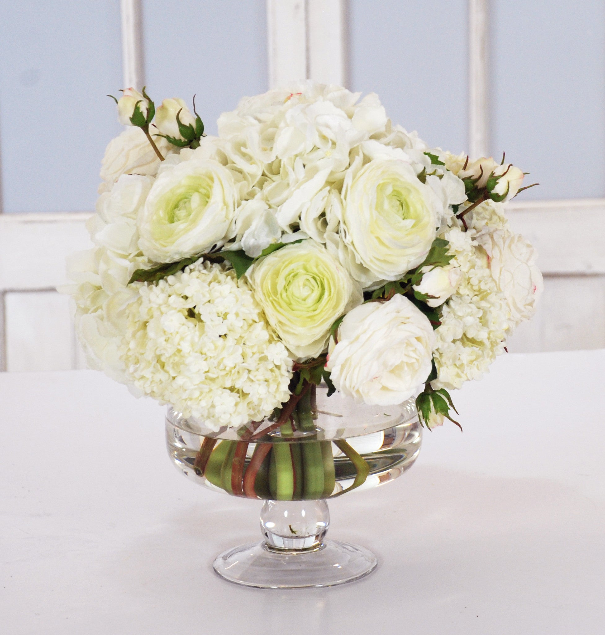 HYDRANGEA & RANUNCULUS IN COMPOTE (WHD105-WH) - Winward Home faux floral arrangements