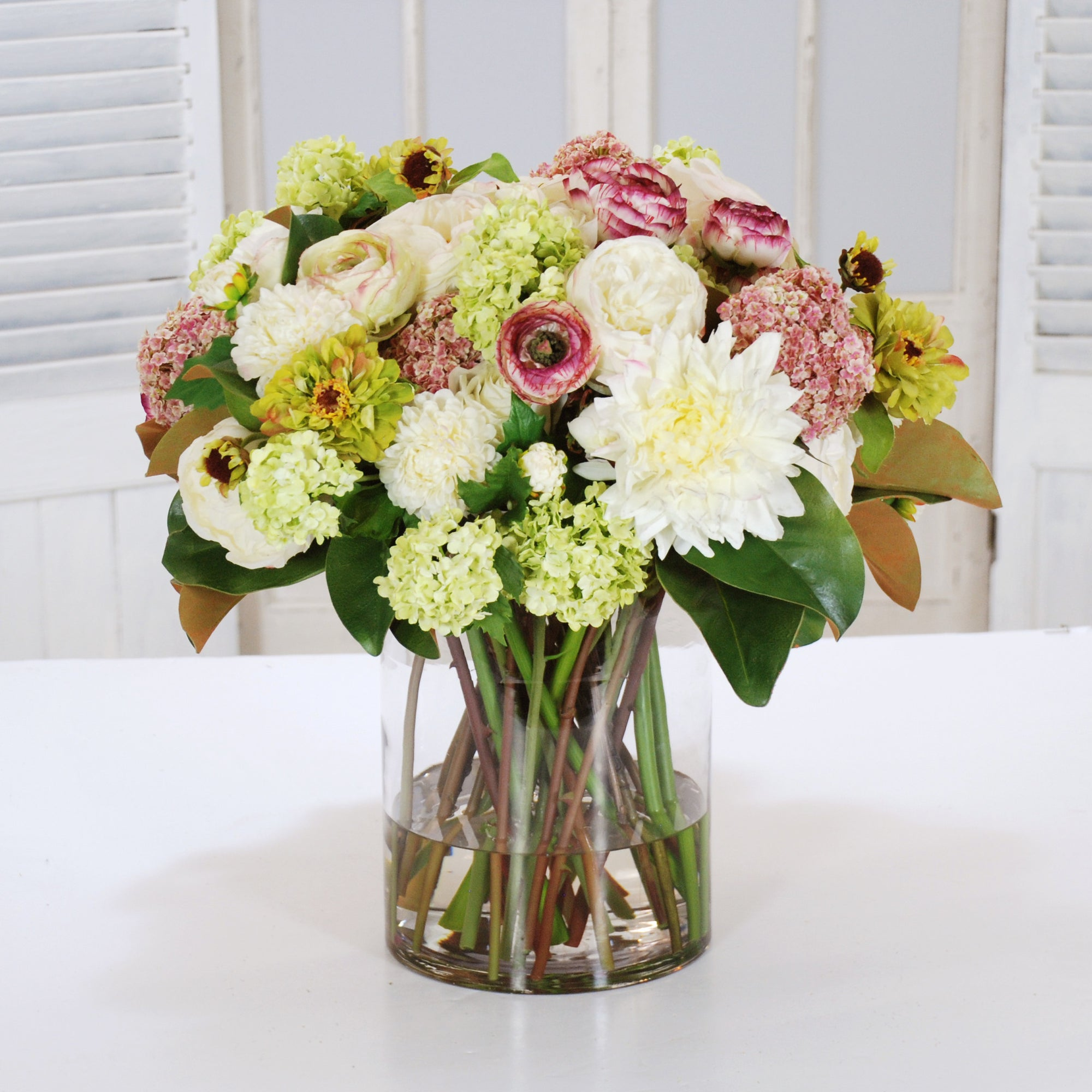 DAHLIA, RANUNCULUS & ROSE IN CYCLINDER VASE (WHD109-CHPK) - Winward Home faux floral arrangements