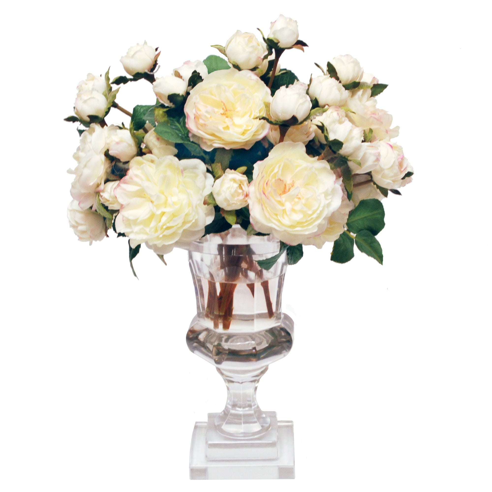 ENGLISH CECILIA ROSE SPRAYS IN ROMA CUT VASE (WHD120-WH)
