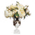 Artificial white english roses in glass urn