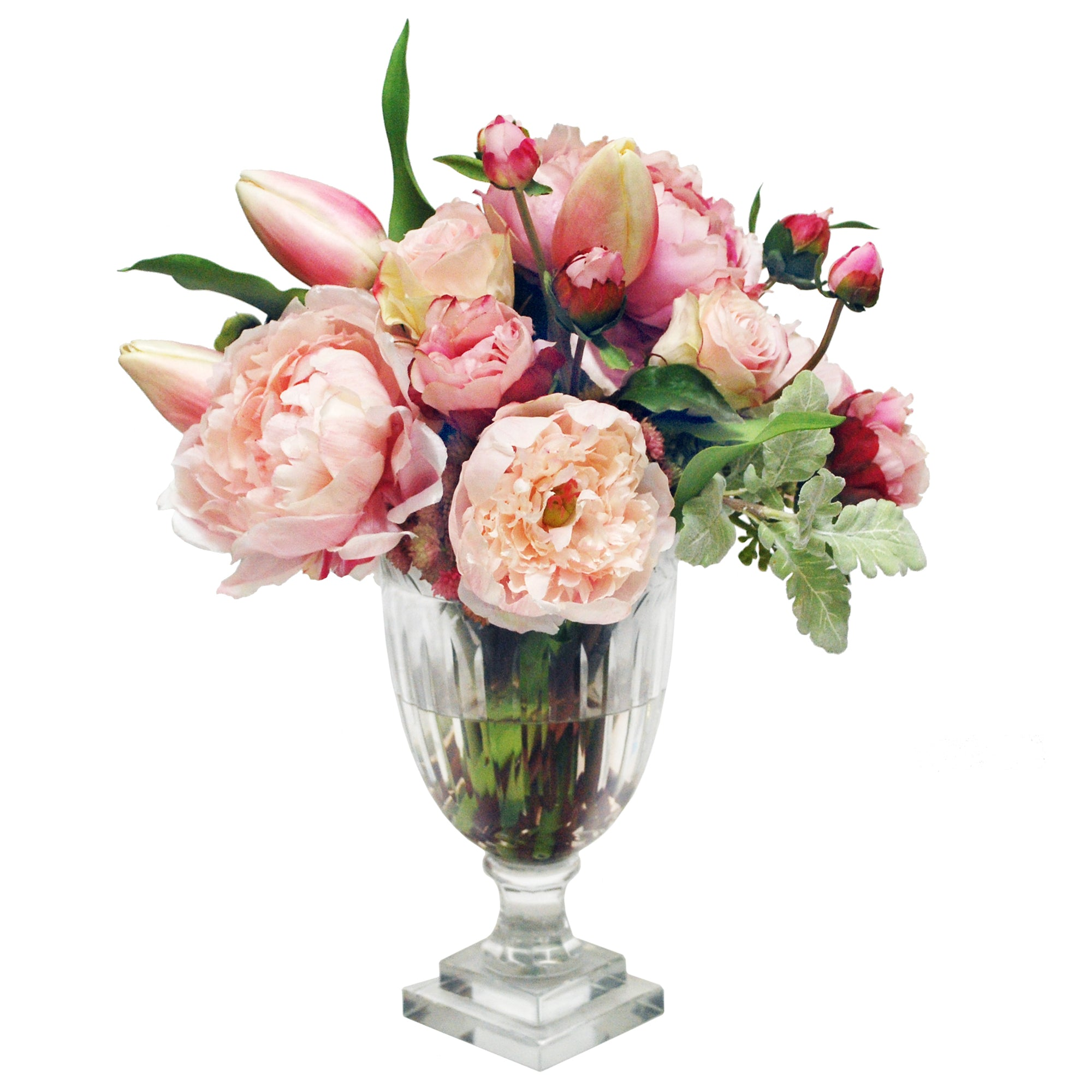 MIXED PEONY AND ROSE IN LEAF CUT VASE (WHD128-PK)