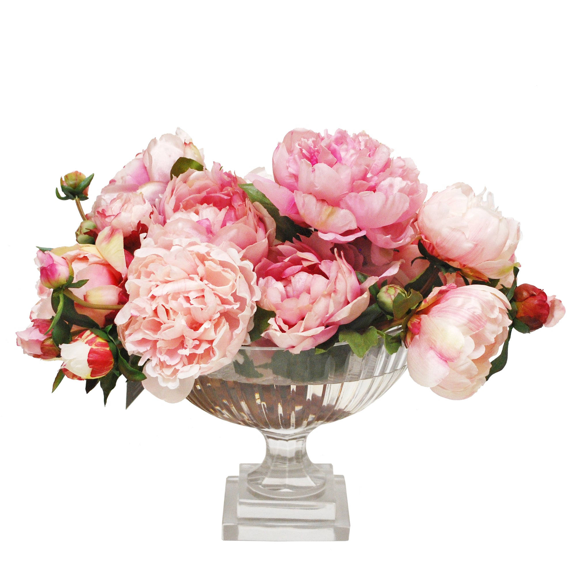 MIXED PEONY IN MEDIUM STRIPE CUT BOWL (WHD131-PK)