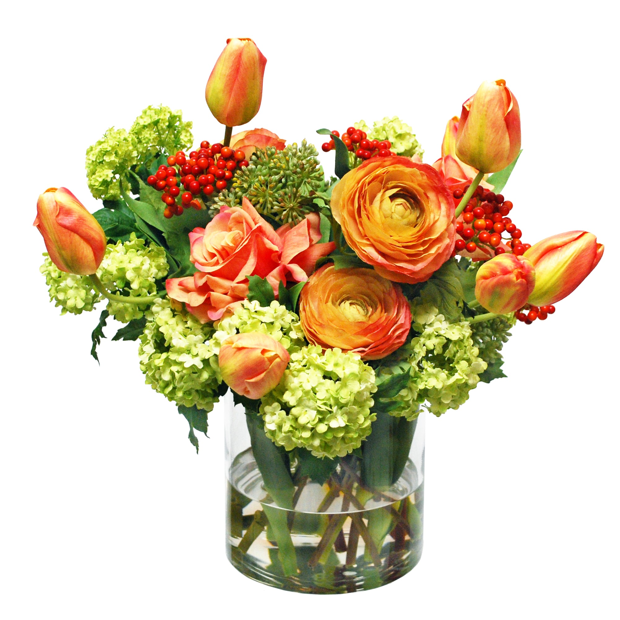 MIX TULIP AND ROSE IN VASE (WHD132-ORGR)
