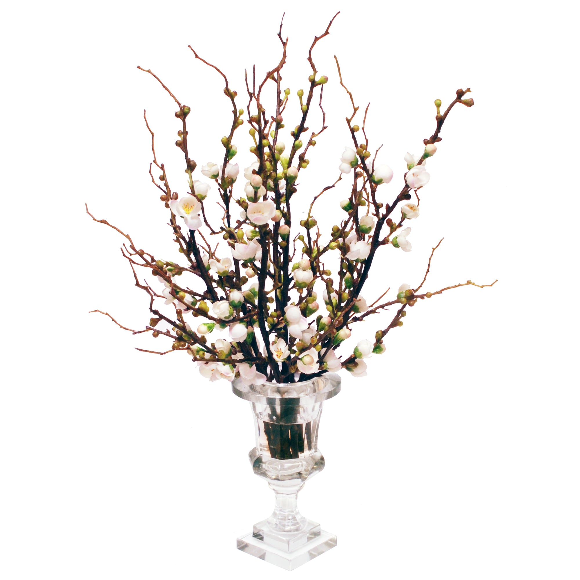 PEACH BLOSSOM IN CUT VASE (WHD135-WH)