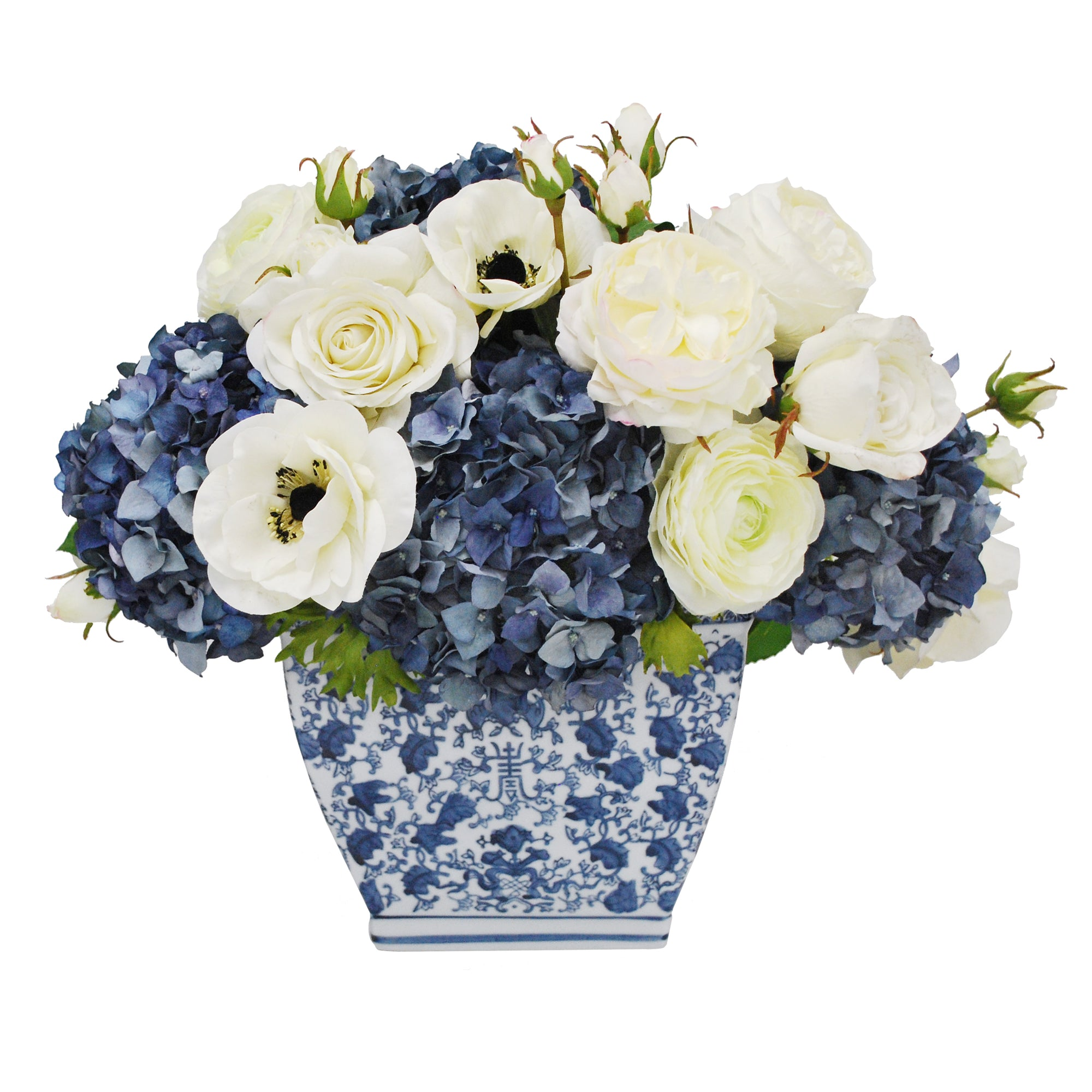 HYDRANGEA ROSE IN RECT CACHE POT (WHD275-BLWH)