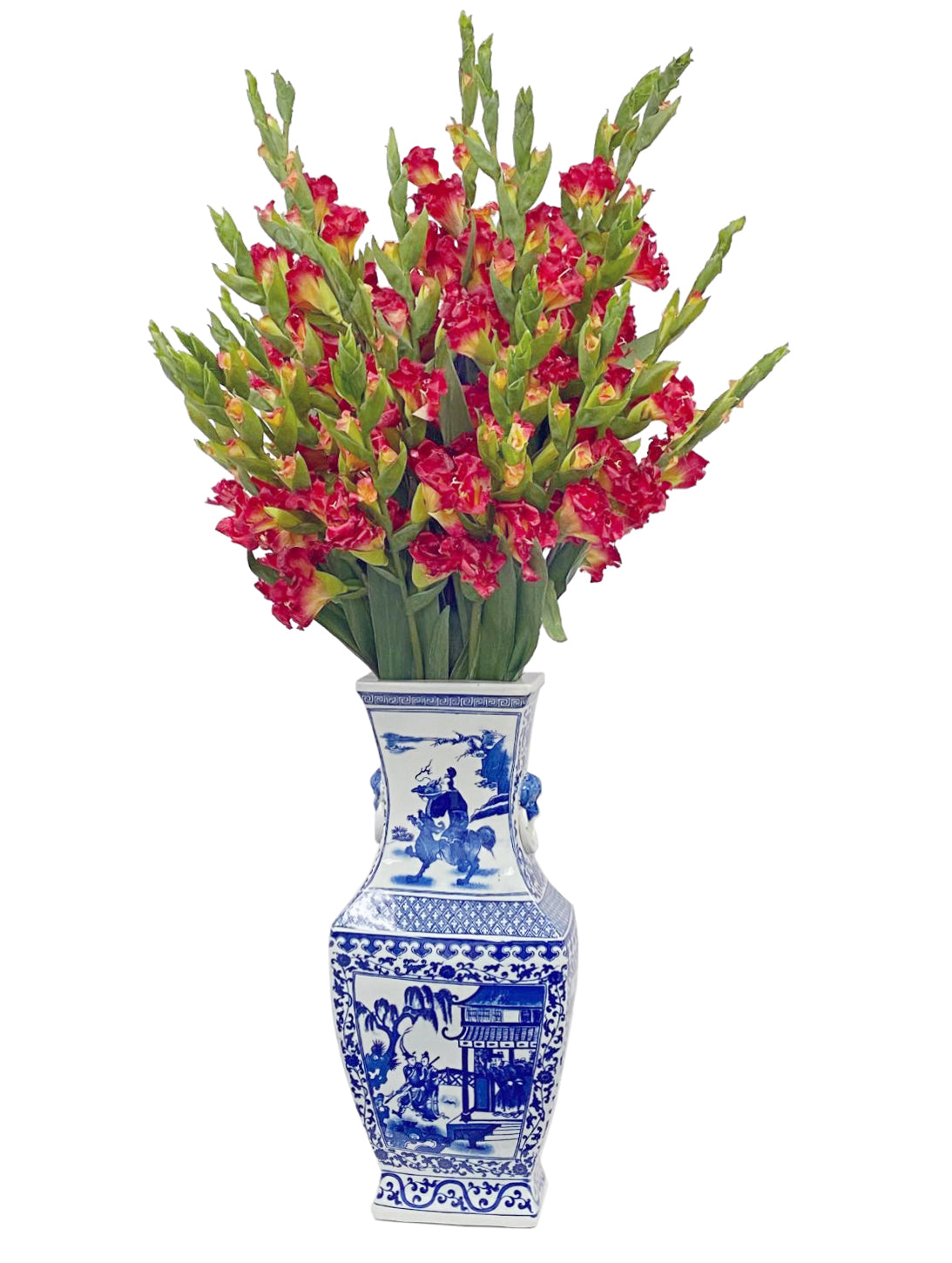 Artificial red gladiolus in chinoiserie white and blue porcelain vase