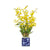 Yellow dancing oncidium faux orchids in a blue and white container