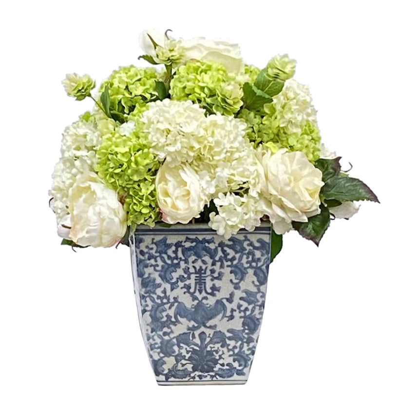 Mixed rose and snowball in Chinese white and blue ceramic pot