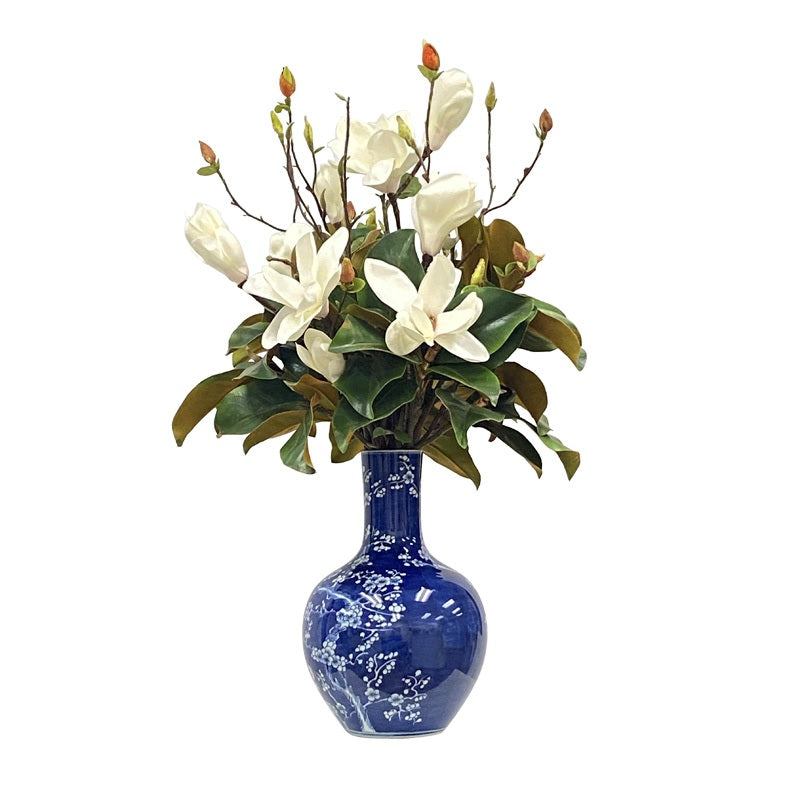 TREE MAGNOLIA IN PLUM VASE (WHD364-BLWH)