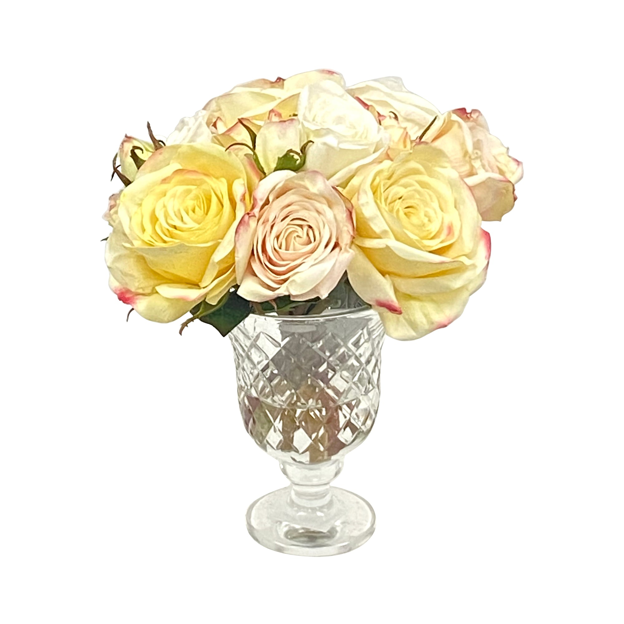 Realistic mixed roses in high-quality clear cut glass urn
