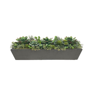 "SUCCULENT MIX IN LONG TROUGH PLANTER 30"" WIDE"
