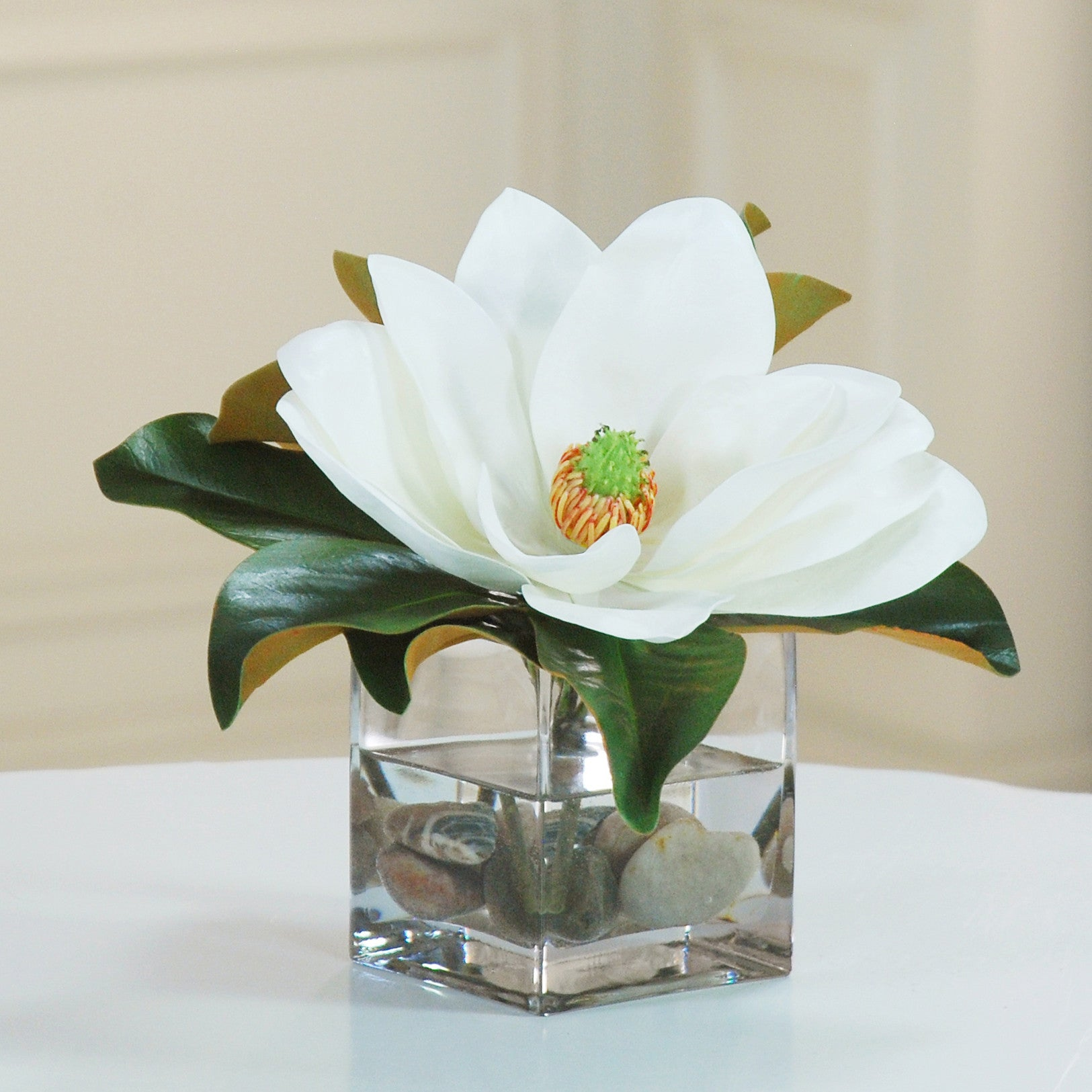 STATEMENT MAGNOLIA CUBE (WHDP146-WHGR) - Winward Home faux floral arrangements